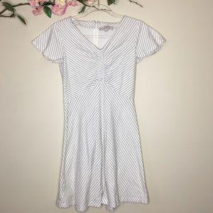 LOFT striped cinched flutter sleeve dress size 0